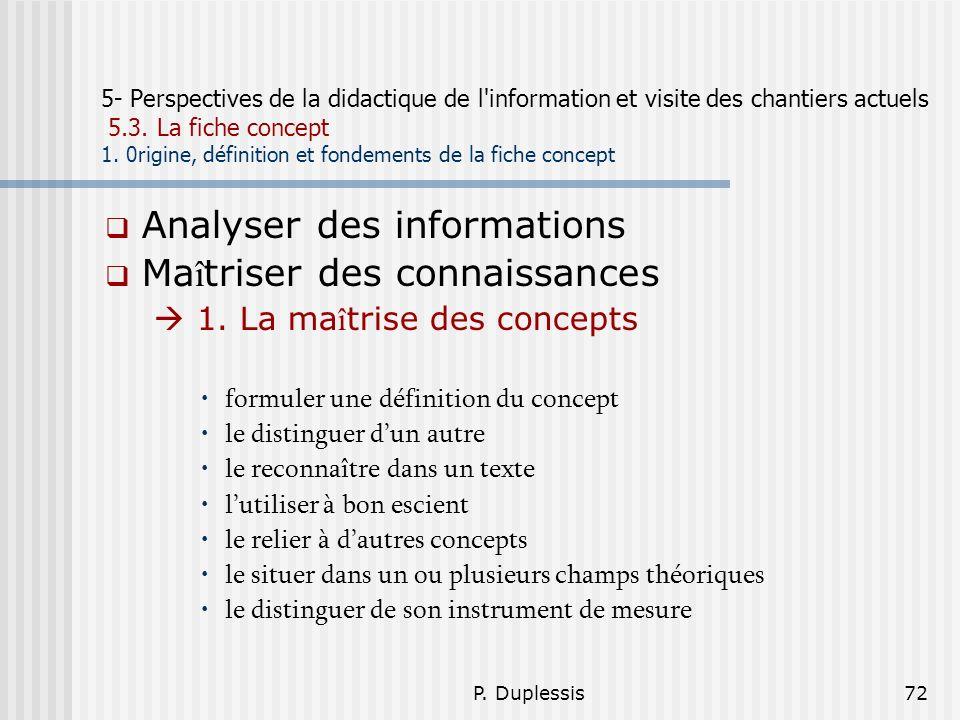 Analyser des informations Maîtriser des connaissances