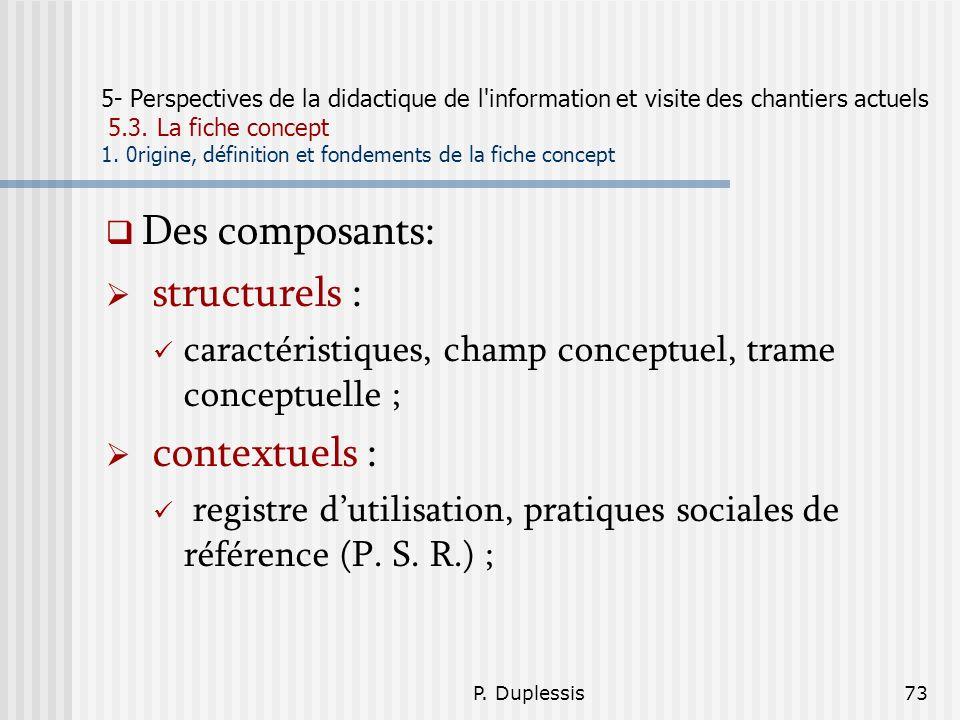 Des composants: structurels : contextuels :