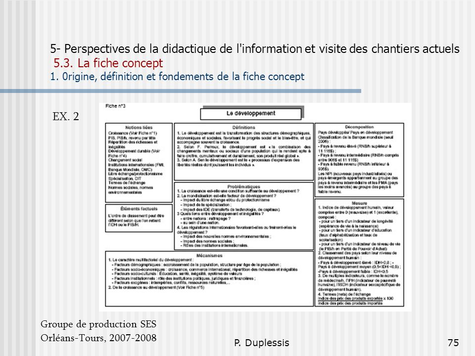 5- Perspectives de la didactique de l information et visite des chantiers actuels 5.3. La fiche concept 1. 0rigine, définition et fondements de la fiche concept