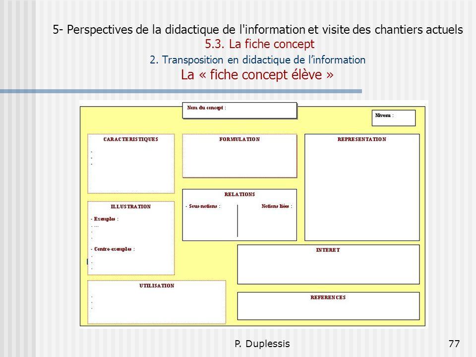 5- Perspectives de la didactique de l information et visite des chantiers actuels 5.3. La fiche concept 2. Transposition en didactique de l'information La « fiche concept élève »