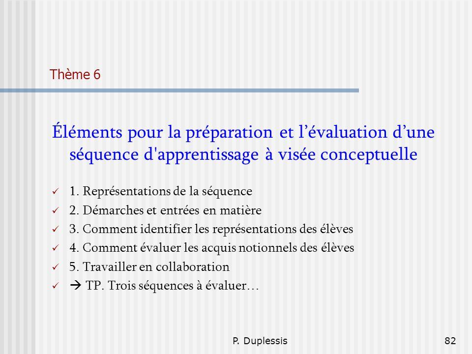 Thème 6 Éléments pour la préparation et l'évaluation d'une séquence d apprentissage à visée conceptuelle.