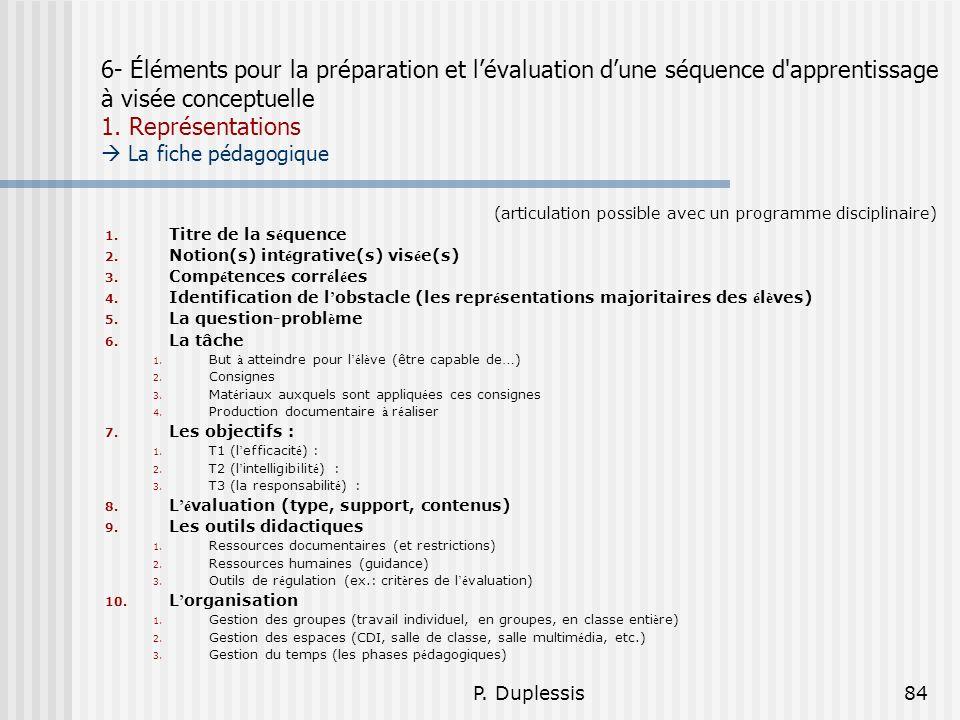 6- Éléments pour la préparation et l'évaluation d'une séquence d apprentissage à visée conceptuelle 1. Représentations  La fiche pédagogique