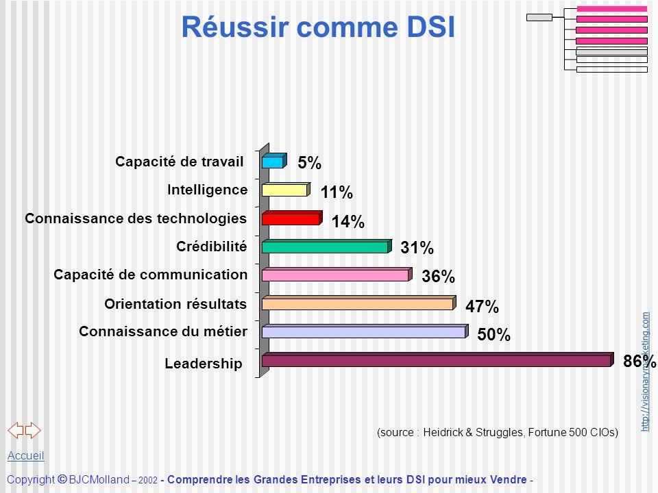 Réussir comme DSI 5% 11% 14% 31% 36% 47% 50% 86% Capacité de travail
