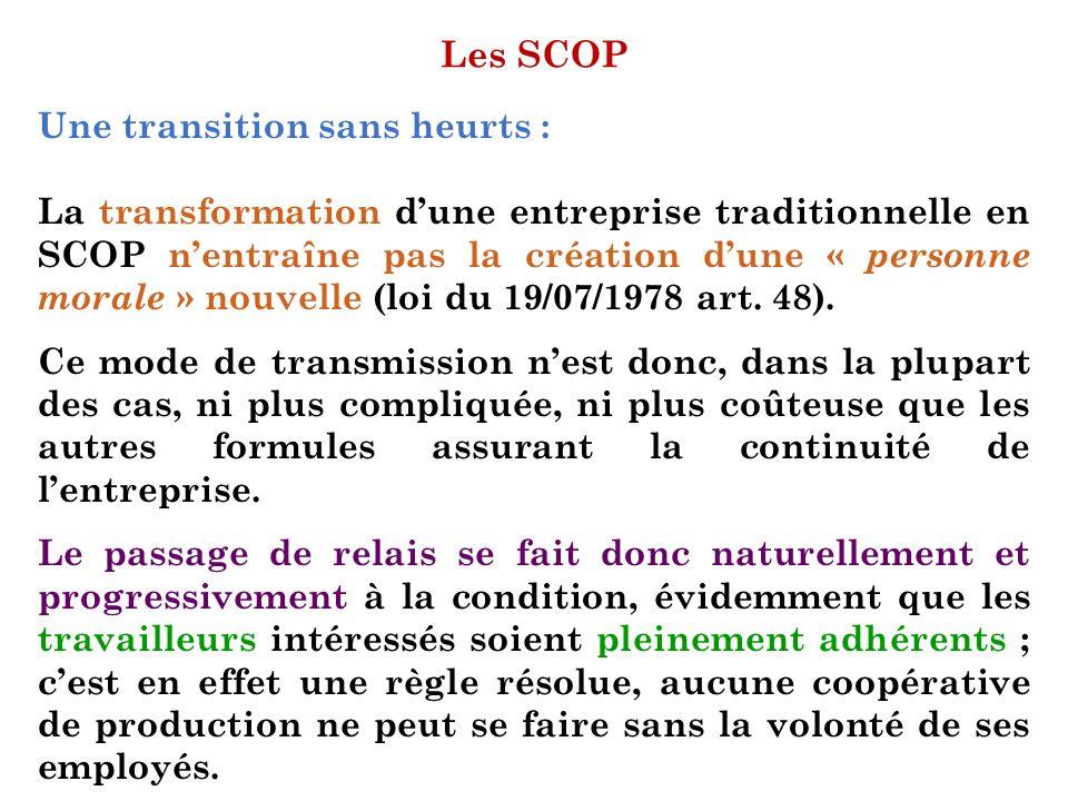 Les SCOP Une transition sans heurts :