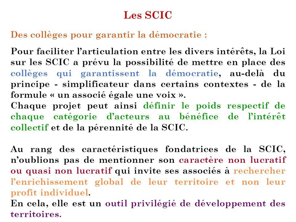 Les SCIC Des collèges pour garantir la démocratie :