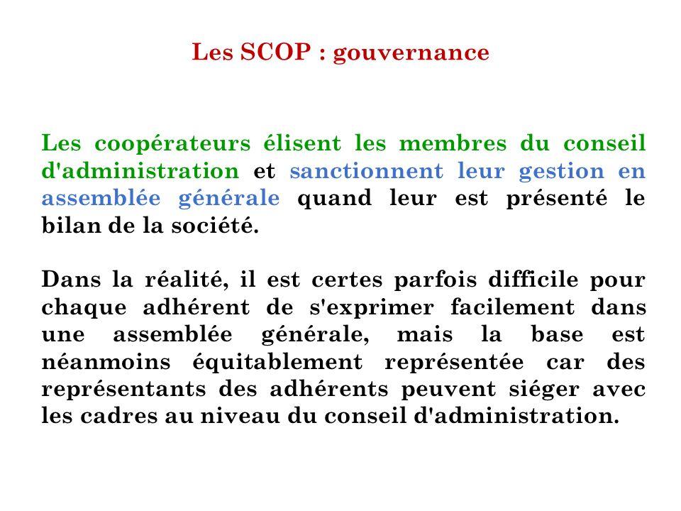 Les SCOP : gouvernance