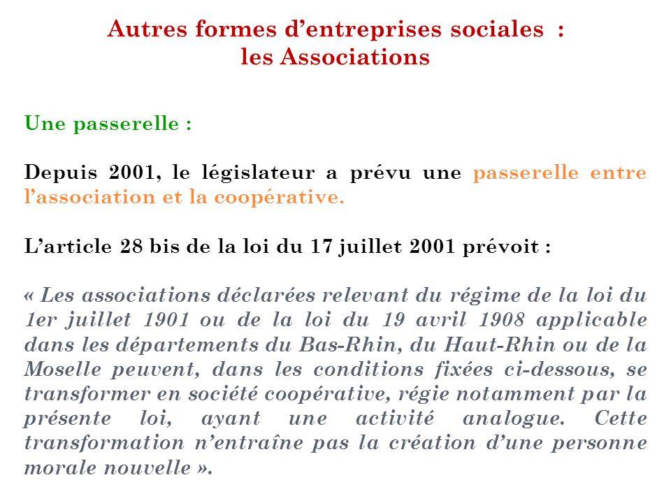 Autres formes d'entreprises sociales : les Associations