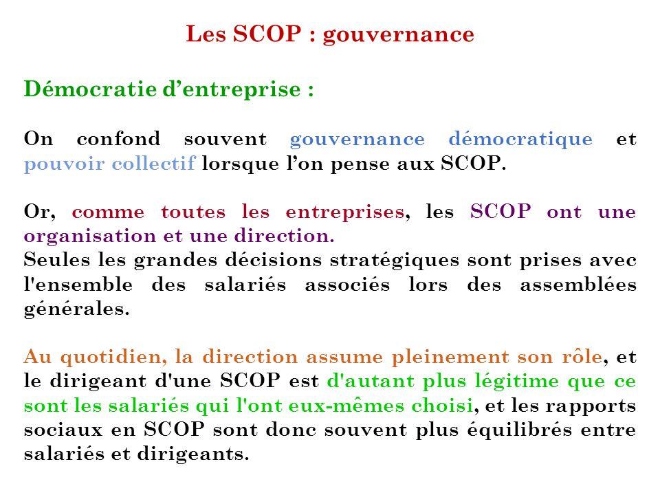 Les SCOP : gouvernance Démocratie d'entreprise :