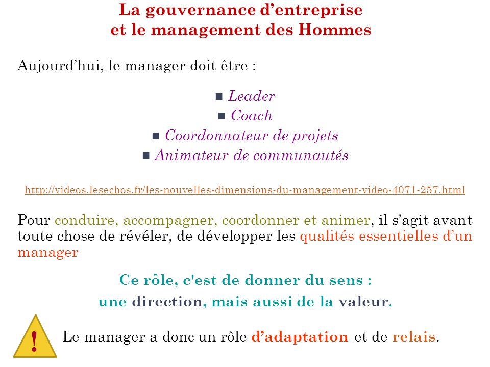 La gouvernance d'entreprise et le management des Hommes