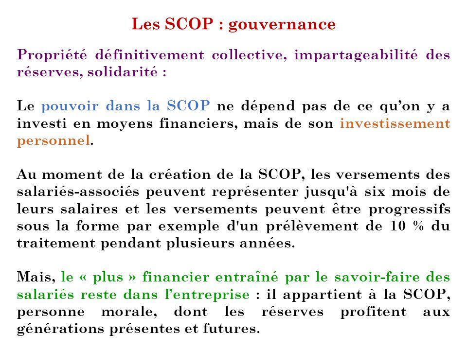 Les SCOP : gouvernance Propriété définitivement collective, impartageabilité des réserves, solidarité :