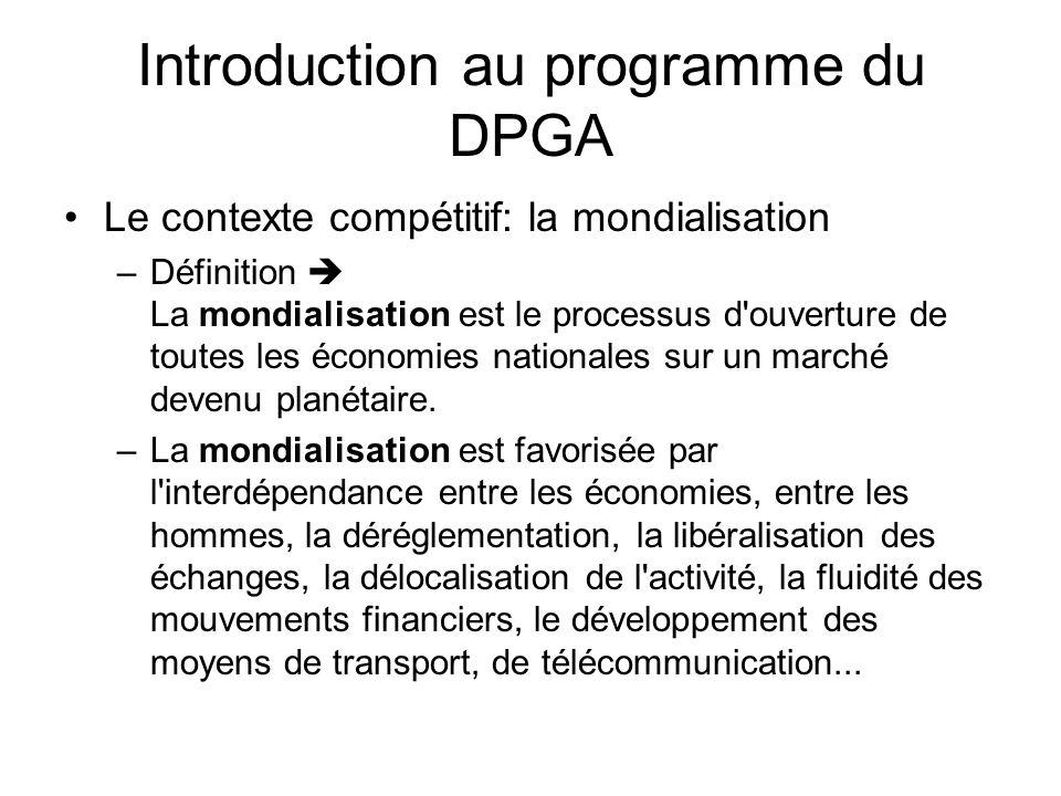 Introduction au programme du DPGA