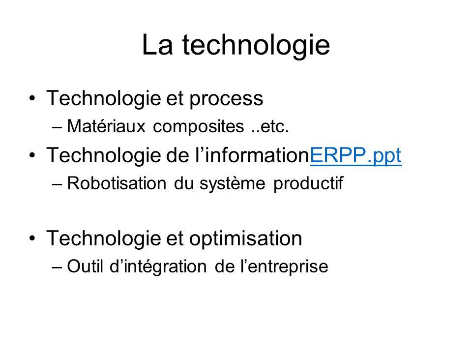 La technologie Technologie et process