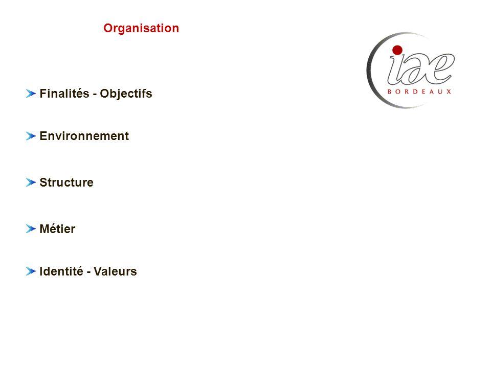 Organisation Finalités - Objectifs Environnement Structure Métier Identité - Valeurs
