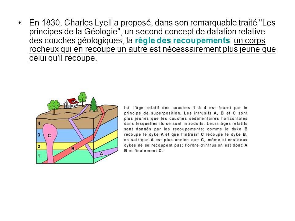 En 1830, Charles Lyell a proposé, dans son remarquable traité Les principes de la Géologie , un second concept de datation relative des couches géologiques, la règle des recoupements: un corps rocheux qui en recoupe un autre est nécessairement plus jeune que celui qu il recoupe.