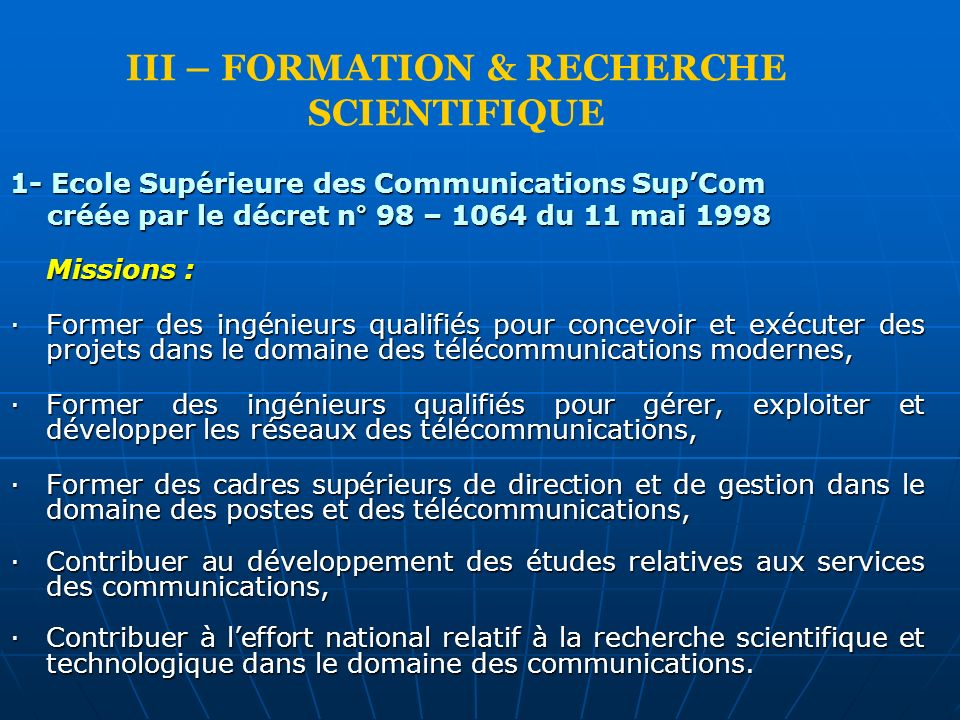 III – FORMATION & RECHERCHE SCIENTIFIQUE