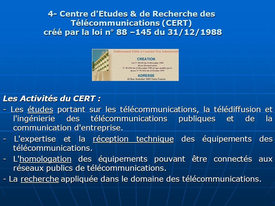 4- Centre d Etudes & de Recherche des Télécommunications (CERT)