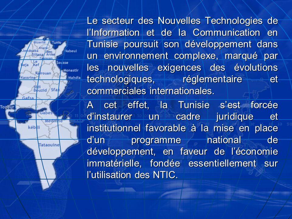 Le secteur des Nouvelles Technologies de l'Information et de la Communication en Tunisie poursuit son développement dans un environnement complexe, marqué par les nouvelles exigences des évolutions technologiques, réglementaire et commerciales internationales.
