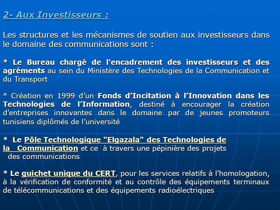 2- Aux Investisseurs : Les structures et les mécanismes de soutien aux investisseurs dans le domaine des communications sont :