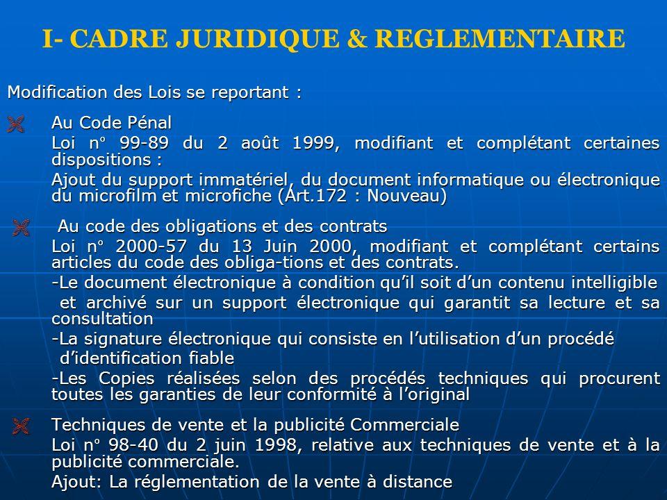 I- CADRE JURIDIQUE & REGLEMENTAIRE
