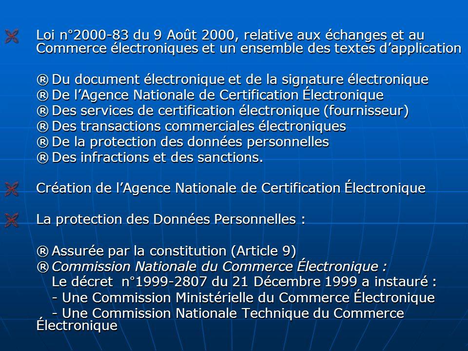  Loi n°2000-83 du 9 Août 2000, relative aux échanges et au Commerce électroniques et un ensemble des textes d'application