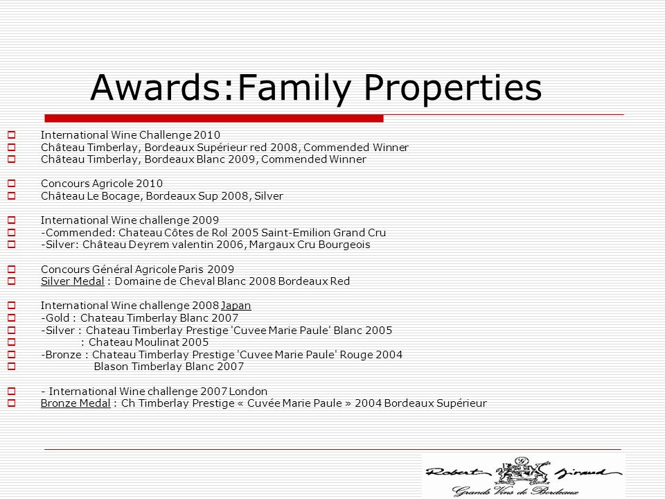 Awards:Family Properties