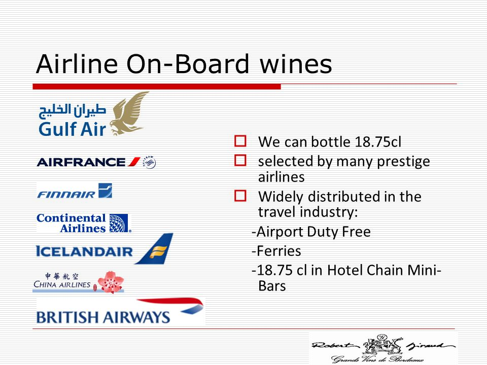 Airline On-Board wines