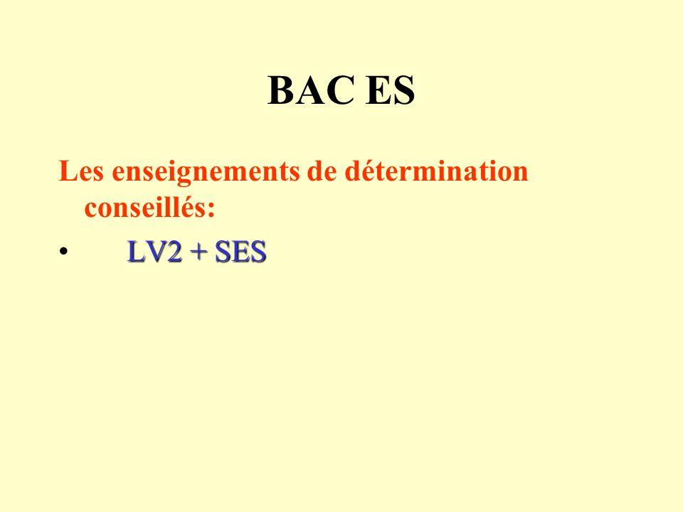 BAC ES Les enseignements de détermination conseillés: LV2 + SES