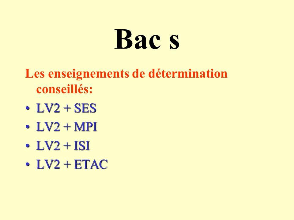 Bac s Les enseignements de détermination conseillés: LV2 + SES