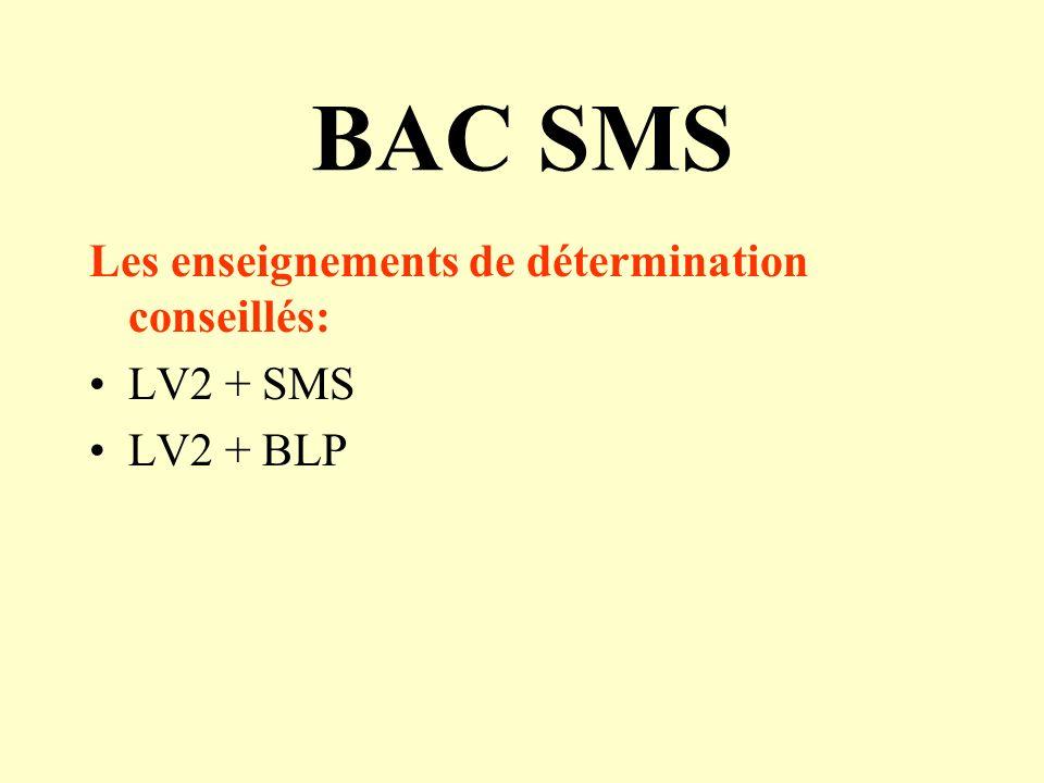 BAC SMS Les enseignements de détermination conseillés: LV2 + SMS