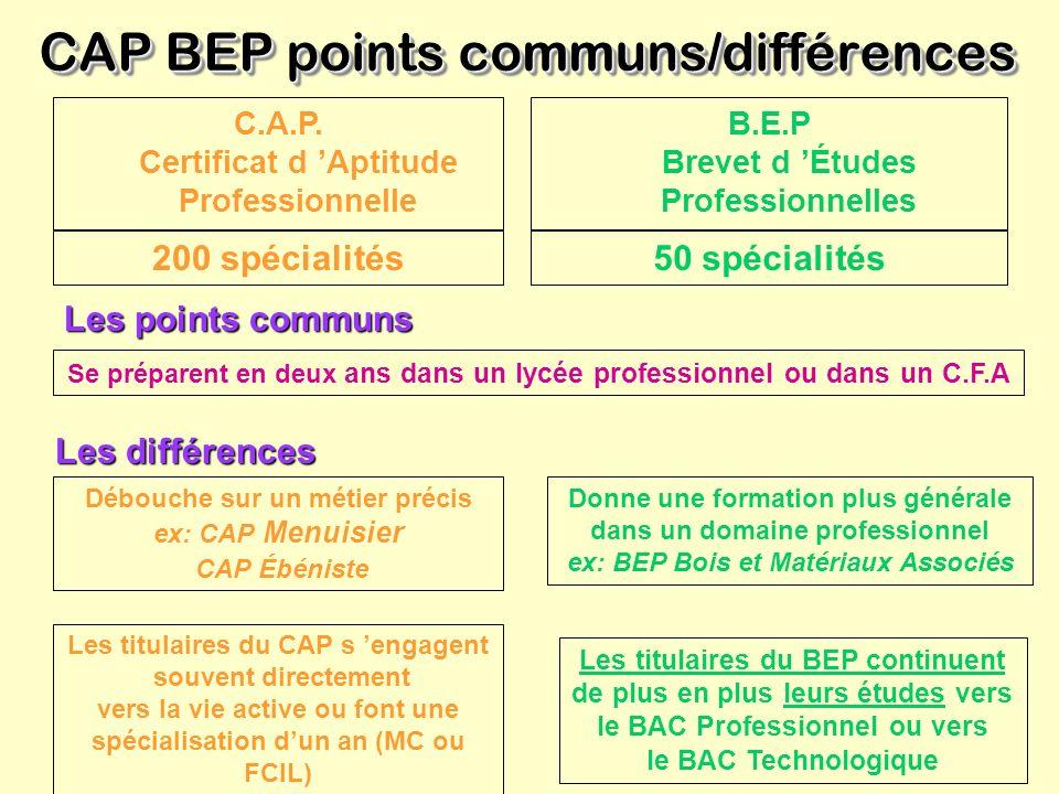 CAP BEP points communs/différences