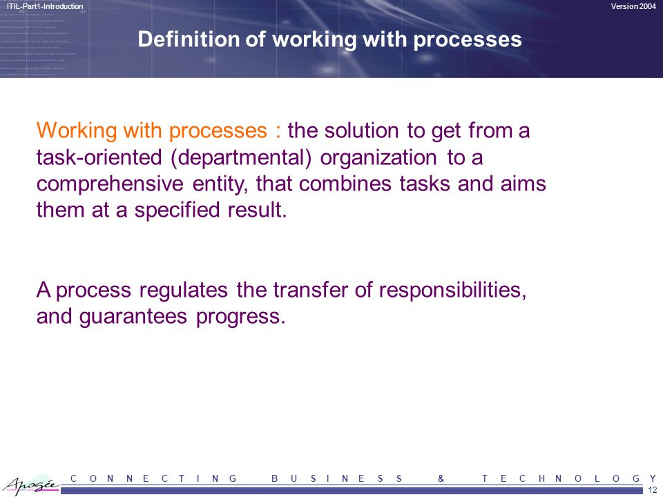 Definition of working with processes