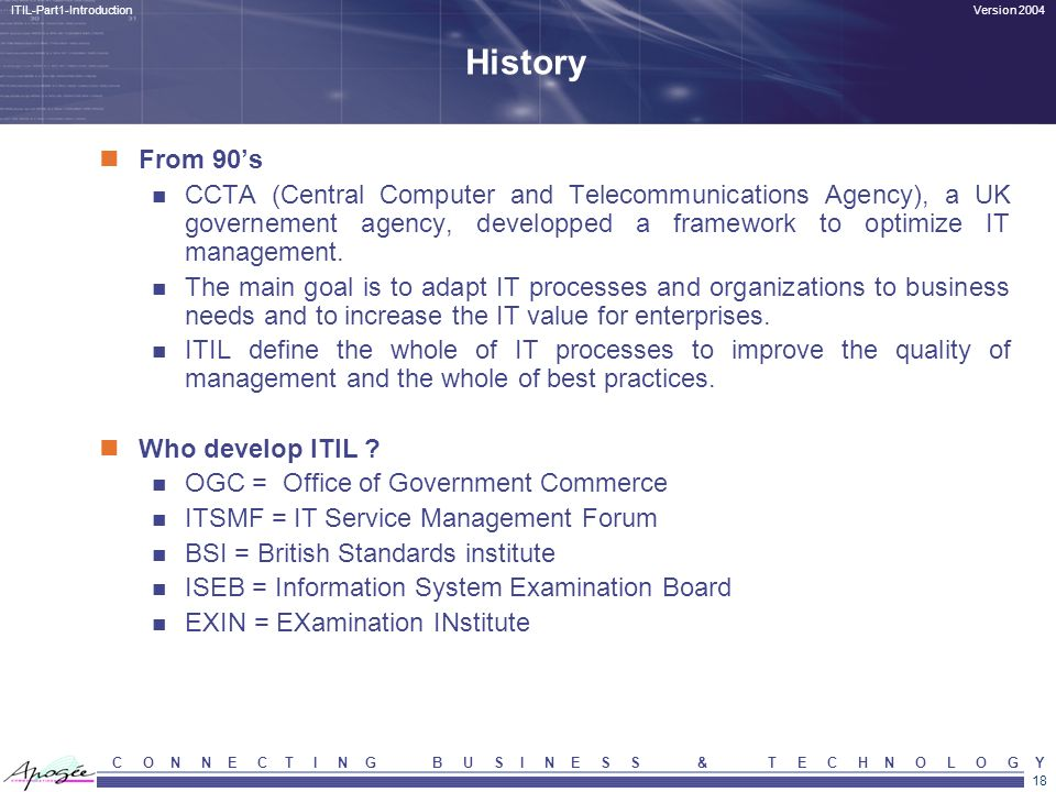 History From 90's. CCTA (Central Computer and Telecommunications Agency), a UK governement agency, developped a framework to optimize IT management.