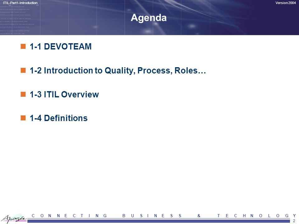 Agenda 1-1 DEVOTEAM 1-2 Introduction to Quality, Process, Roles…