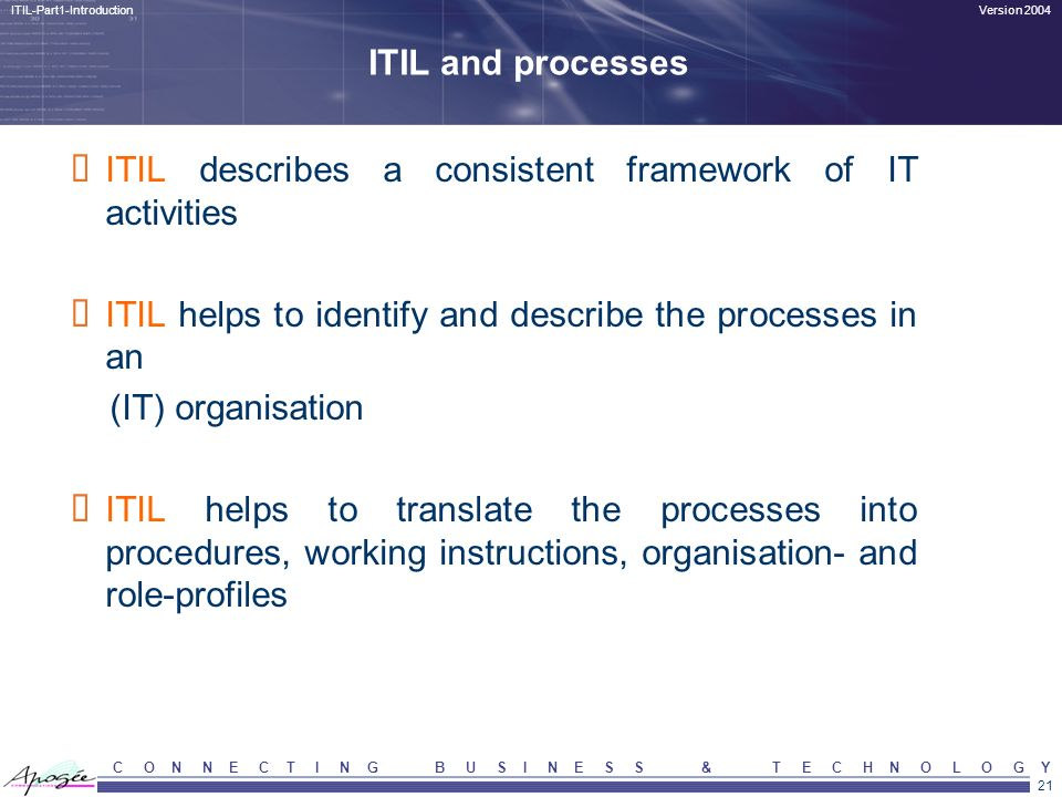 ITIL describes a consistent framework of IT activities