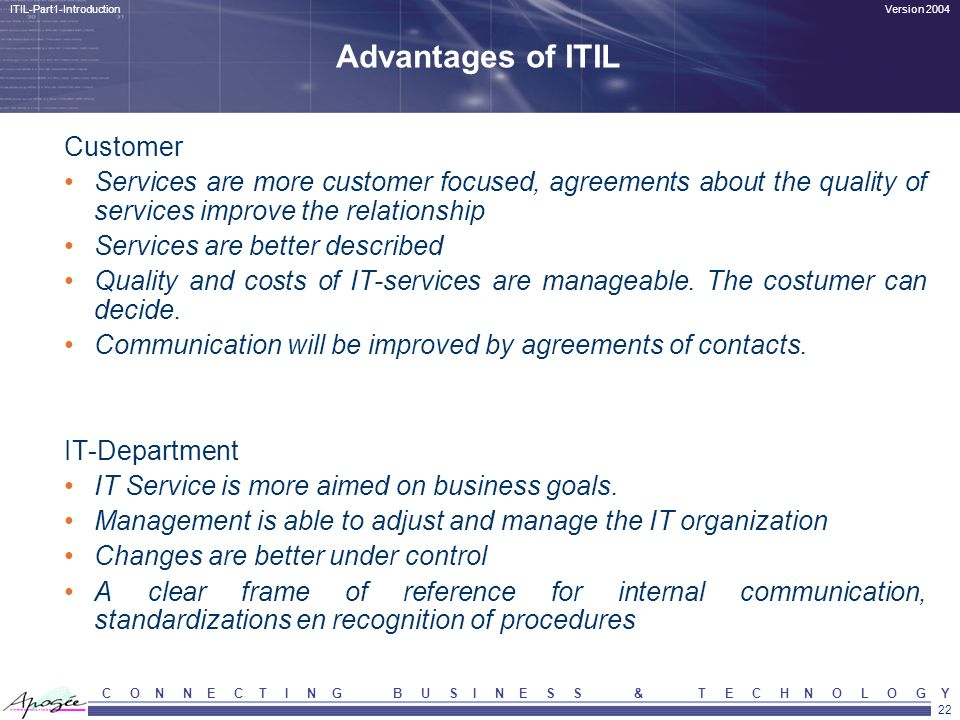 Advantages of ITIL Customer