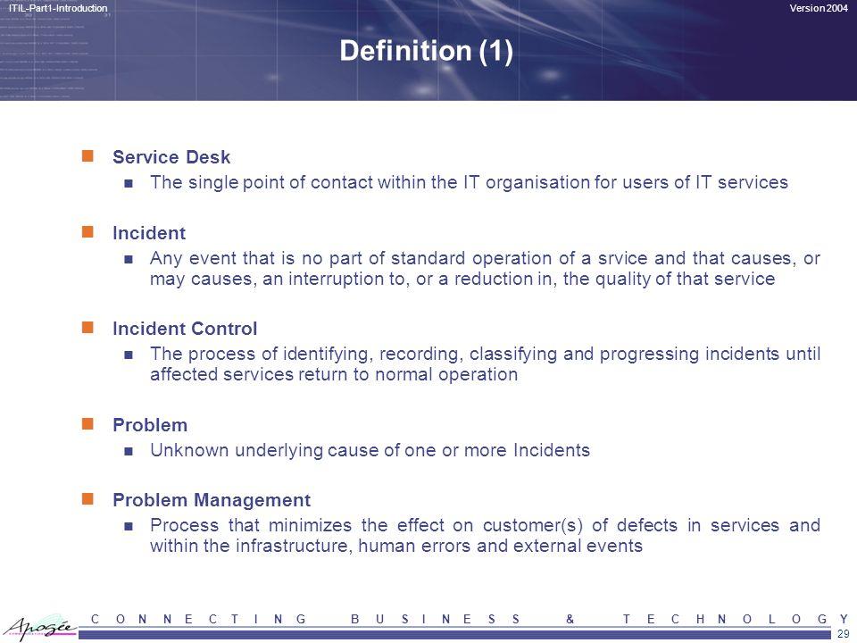 Definition (1) Service Desk