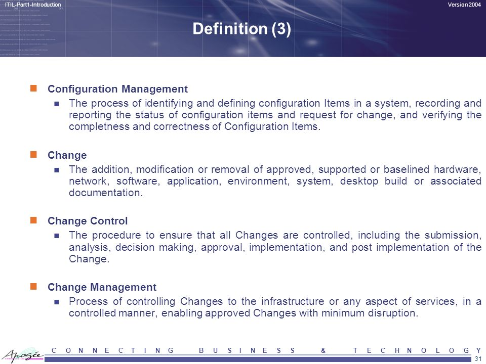 Definition (3) Configuration Management
