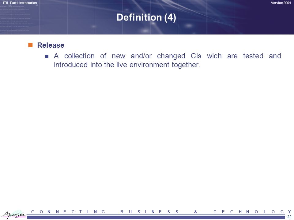 Definition (4) Release. A collection of new and/or changed Cis wich are tested and introduced into the live environment together.