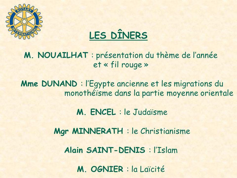 LES DÎNERS M. NOUAILHAT : présentation du thème de l'année