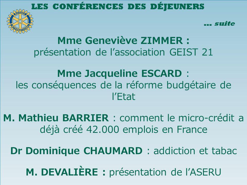présentation de l'association GEIST 21 Mme Jacqueline ESCARD :