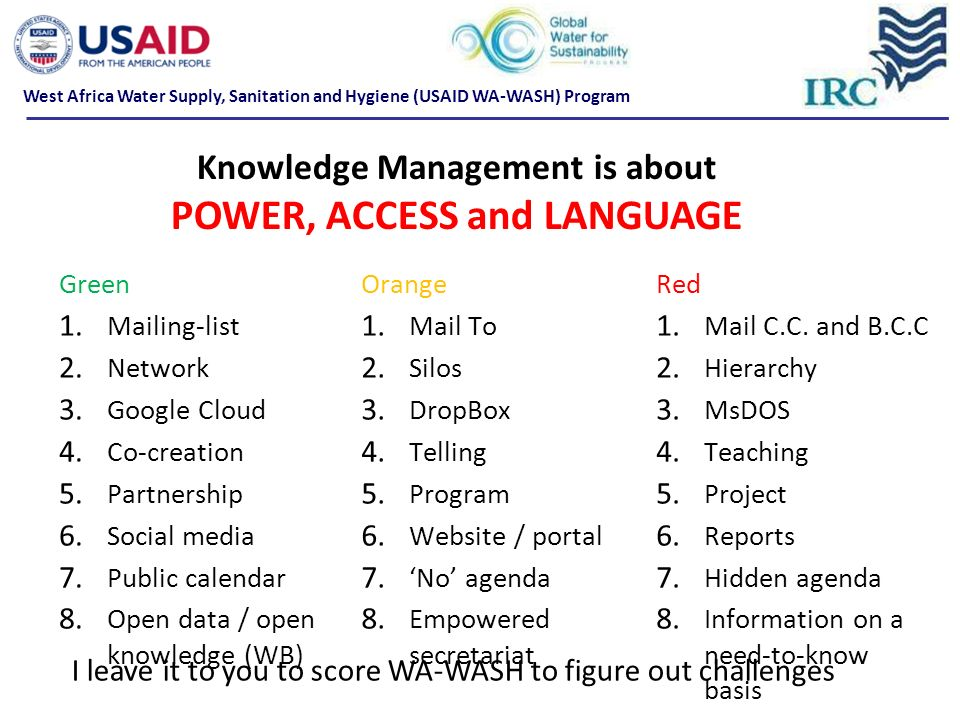 Knowledge Management is about POWER, ACCESS and LANGUAGE