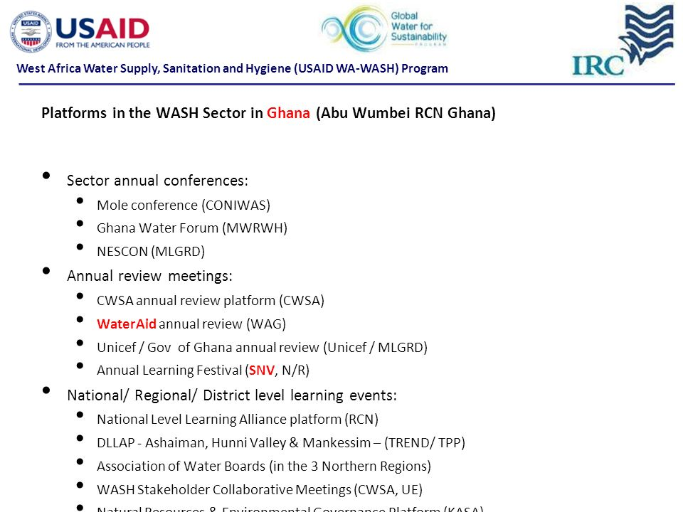 Platforms in the WASH Sector in Ghana (Abu Wumbei RCN Ghana)