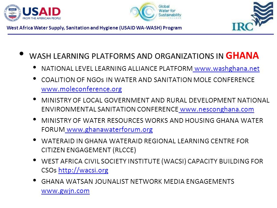 WASH LEARNING PLATFORMS AND ORGANIZATIONS IN GHANA