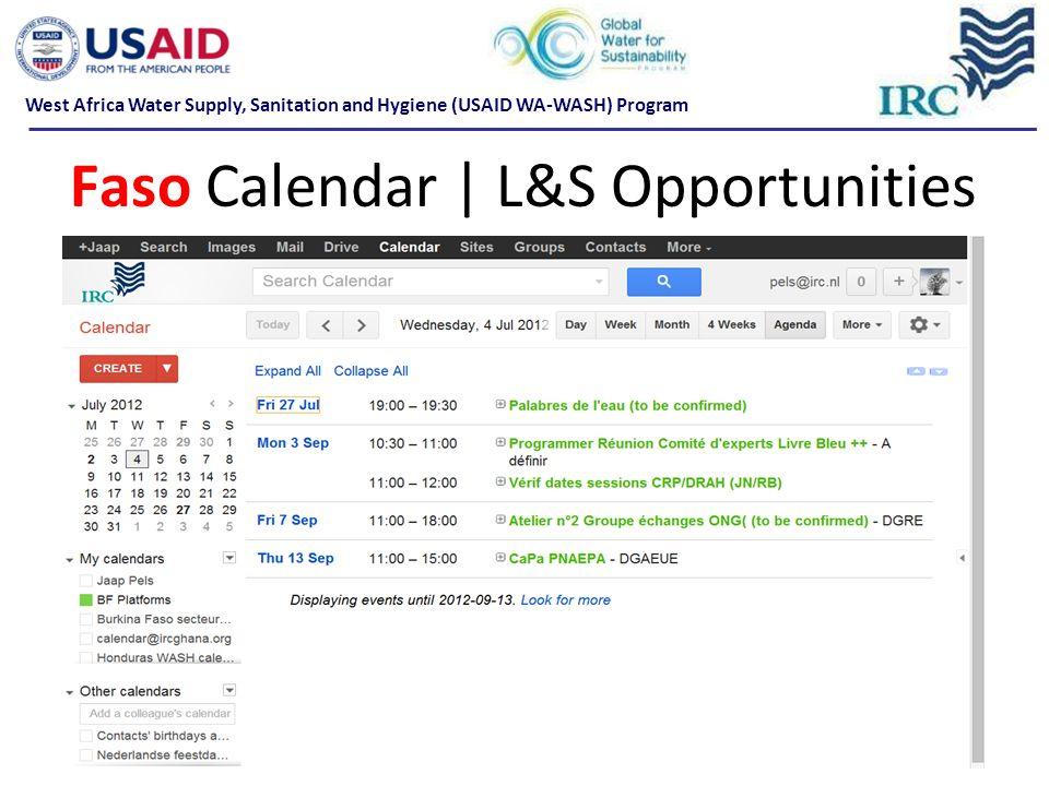 Faso Calendar | L&S Opportunities