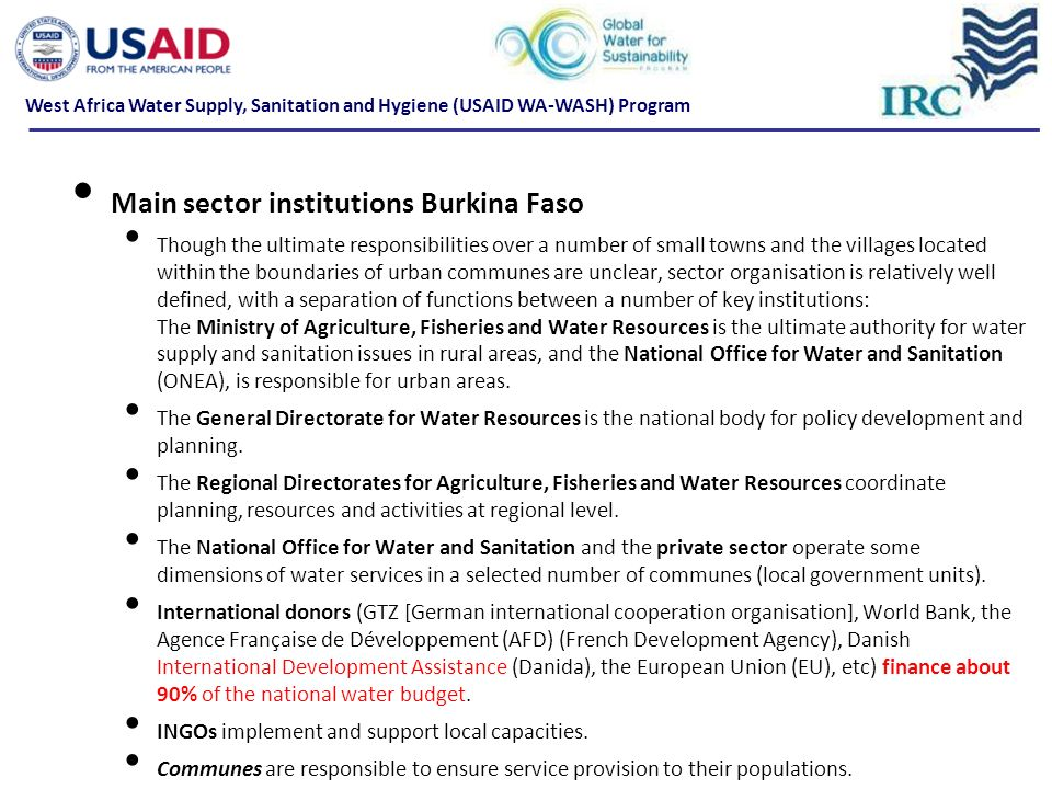 Main sector institutions Burkina Faso