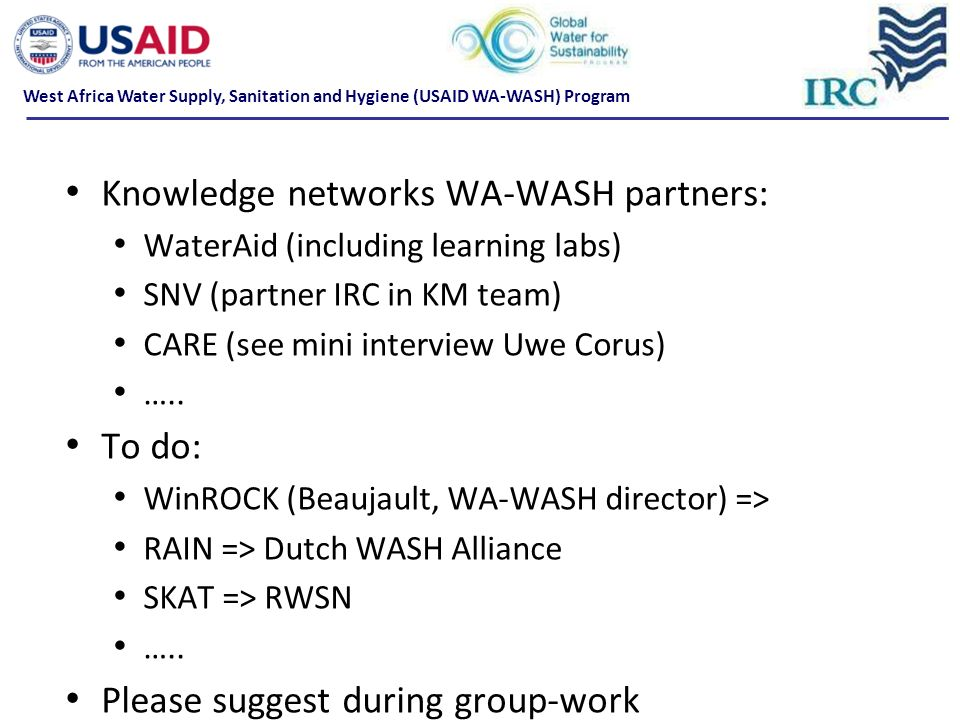 Knowledge networks WA-WASH partners: