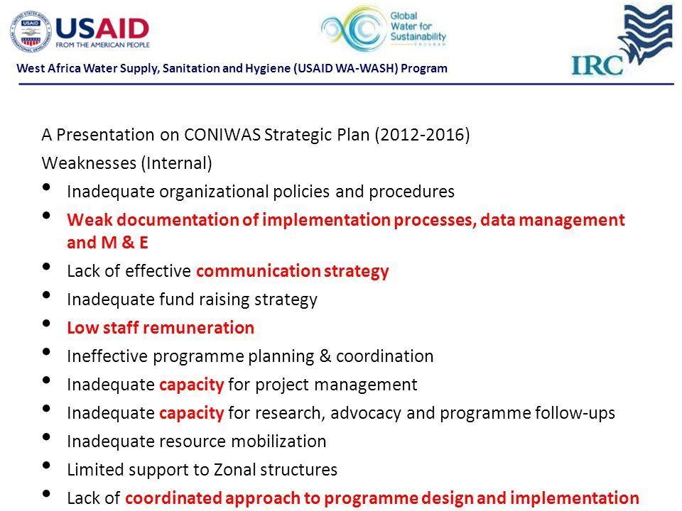 A Presentation on CONIWAS Strategic Plan (2012-2016)