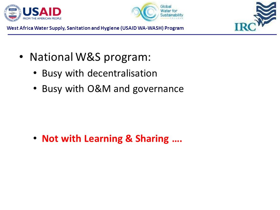 National W&S program: Busy with decentralisation