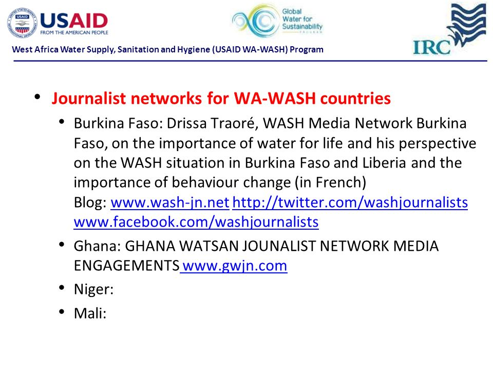 Journalist networks for WA-WASH countries