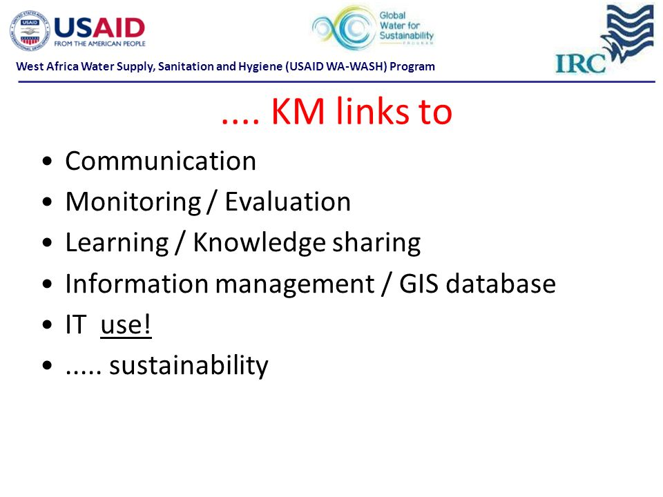 .... KM links to Communication Monitoring / Evaluation